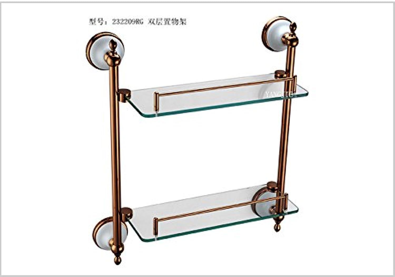 pink gold bathroom double glass shelf-@wei