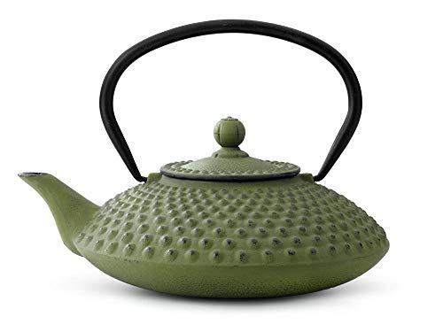 asiatische Teekanne Gusseisen Jing 1,25 ltr. grüne Noppenstruktur