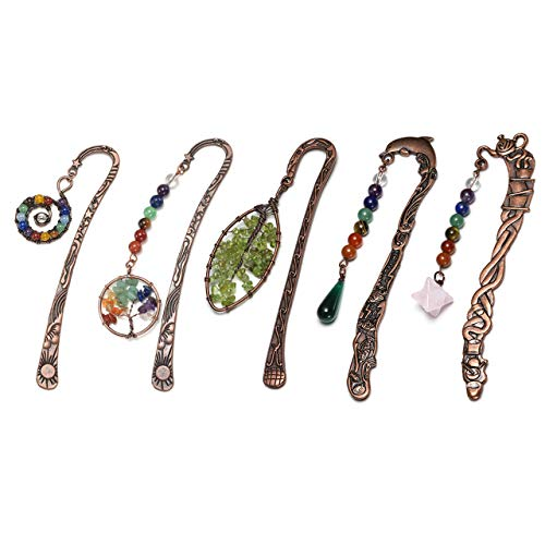 Jovivi 5pcs Antique Copper Metal Bookmark Beading Bookmarks with Handmade 7 Chakra Healing Crystals Tree of Life Tumbled Gemstones Assorted Beads