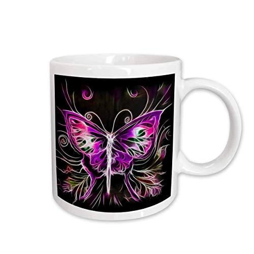 N\A mug_116896_2 Pretty Pink and Purple Fractal Butterfly Arte Digital de la Naturaleza Taza de cerámica