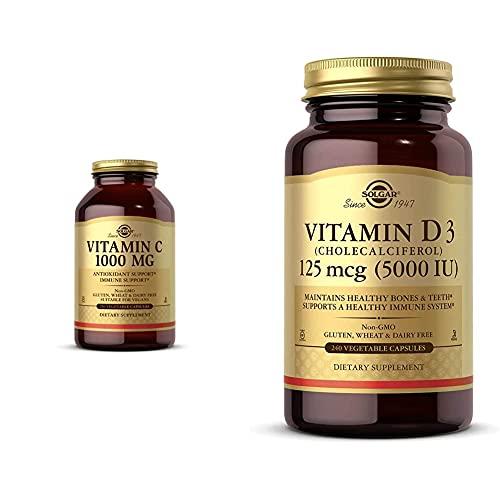Solgar Vitamin C 1000 mg, 250 Vegetable Capsules - Antioxidant & Immune Support - Overall Health - H with Vitamin D3 (Cholecalciferol) 125 mcg (5,000 IU) Vegetable Capsules - 240 Count