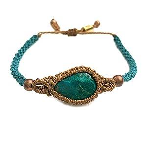 Macrame Chrysocolla Stone Boho Woven Bracelet