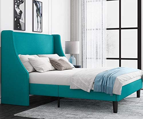 Einfach Full Size Platform Bed Frame with Wingback Headboard Fabric Upholstered Mattress Foundation product image