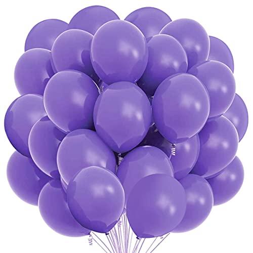 Songjum 50 paquetes de globos de látex, globos de látex de 12 pulgadas, kit de decoración de globos para fiesta, cumpleaños, boda, graduación, aniversario, celebración (Púrpura)
