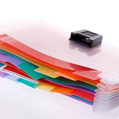 YangFan 13 Grid A6 Datei Tasche Niedliche Regenbogen-Farben-Mini Receipt Datei Bill Bag Bürobedarf Ordner-Datei Aufbewahrungstasche (Color : Multi-Colored)