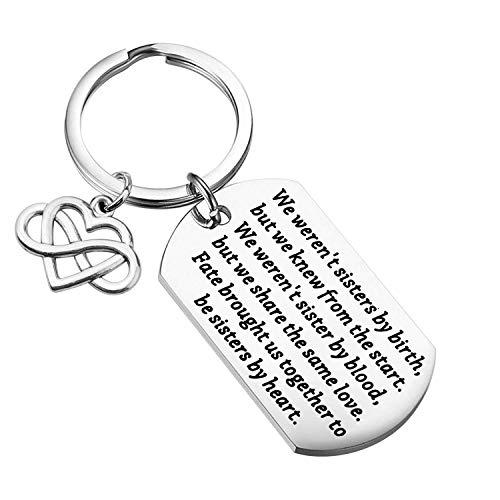 LQRI Unbiological Sister Keychain Sister in Law Gift We Weren