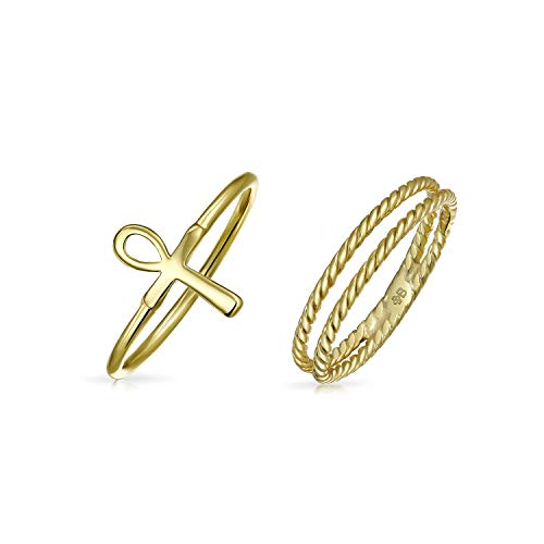 Religiöse Stapelbare Minimalistische 14K Vergoldet 925 Sterling Silber Ägyptischen Ankh Kreuz Ring Einstellen 1Mm Enhancer Kabelband