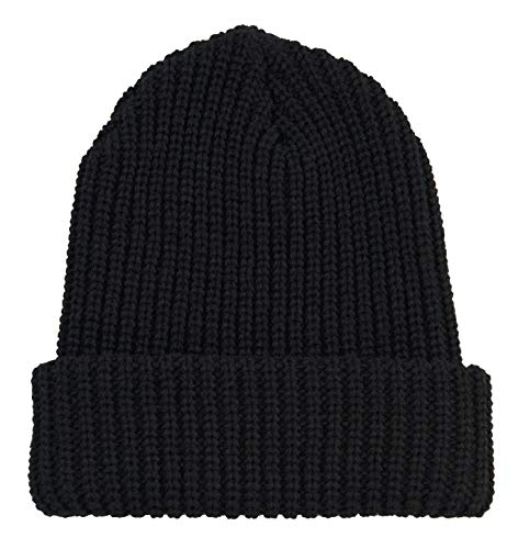 Broner Acrylic Knit Wide Rib Log Splitter Cuff Cap, Black