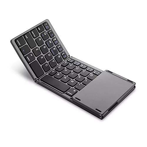 Fesjoy Mini tastiera pieghevole wireless BT con touchpad Tastiera da viaggio portatile ultra sottile Batteria ricaricabile Compatibile con Windows iOS Smartphone Android Tablet PC Laptop