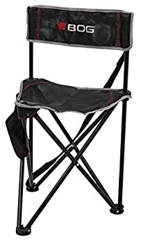 BOG Triple Play Tripod Ground Blind Chair with Rugged Construction Bigger Seat Surface Quiet Setup Carry Bag and Accessory Pouch for Hunting Shooting Outdoors and Sports  Black/Gray