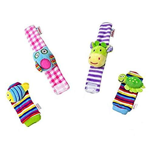 Haplws Sonajero para bebé, 4 uds, Sonajeros de muñeca de Terciopelo para Animales, buscador de pies, Juguetes para el Desarrollo, Juguetes Blandos, muñecas, Regalo de Nacimiento para recién Nacidos