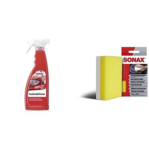 SONAX InsektenEntferner (750 ml) entfernung von Insektenresten auf Glas-, Lack-, Chrom- und Kunststoffoberflächen & ApplikationsSchwamm (1 Stück) zum Auftragen und Verarbeiten von Polituren, Wachsen