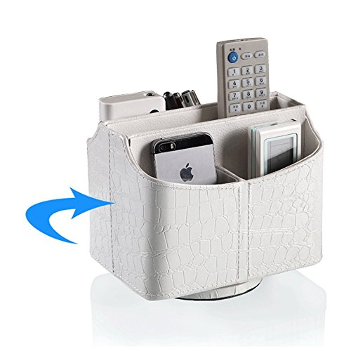 UnionBasic PU Leather Crocodile Pattern 360 Degrees Rotatable Remote Control/Controller Organizer, Spinning TV Guide/Mail/Media Desktop Organizer Caddy Holder (Crocodile White)