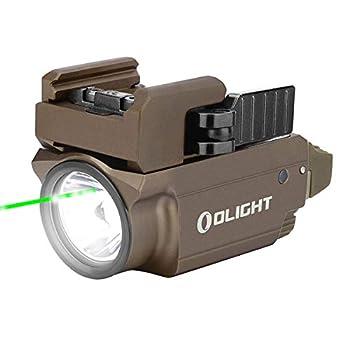 Olight BALDR Mini Lampe Torche LED Blanc Froid 600 lumens Ultra-Compact Combo Lumière Blanche et Faisceau Vert Rechargeable Tactique Lampe de Poche Airsoft Lumière Militaire (Desert Tan)
