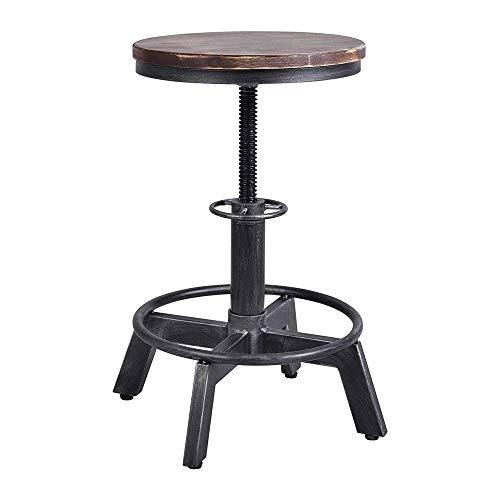 Barstools-BYTGK barkruk in hoogte verstelbaar 45-60cm industriële stijl kruk met metalen voetsteunen en houten zitting ontbijt eetstoel teller keuken kantoor J1010
