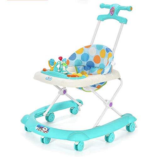 NBHUYT Home Baby Walker Musik Einstellbare Höhe Walker und Mobil Activity Center mit Griff for Baby-6-12 Monat (Color : Green, Size : 59x79cm)