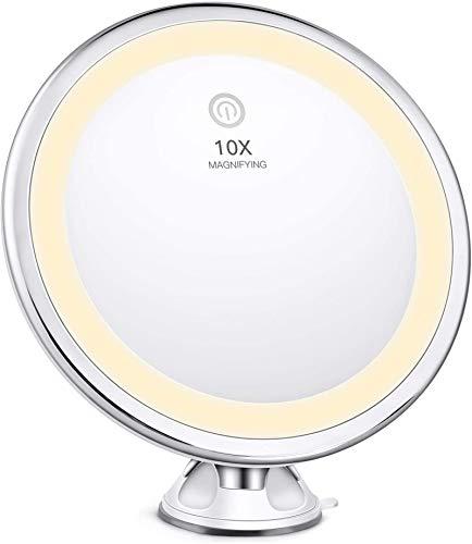 BESTOPE Kosmetikspiegel 40 LED Beleuchtet Schminkspiegel mit 3 Modusfarben 10X Vergrößerung und Starker Saugnapf 360° Drehbares Make-up Spiegel Rasierspiegel für Badzimmer Kosmetikstudio und Hotel