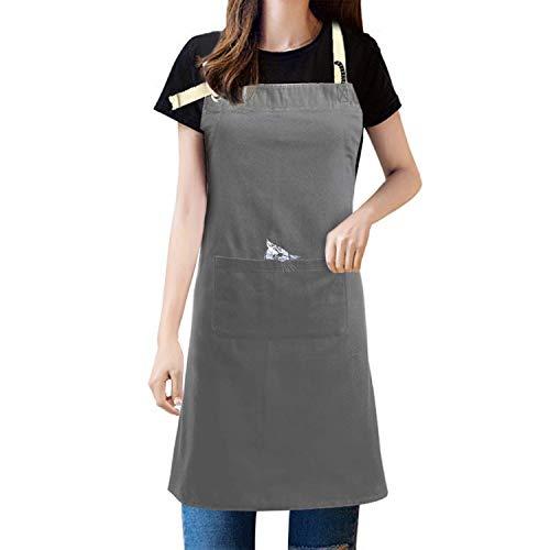 AIYUE Grembiule da cucina impermeabile in garza per barbecue, per uomo e donna (grigio)