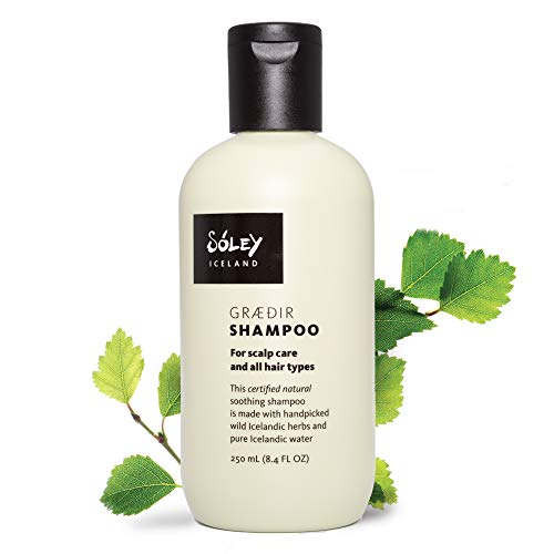 Soley Iceland Natural Shampoo – Vegan, SLS/SLES Sulfate Free, Paraben Free, Cruelty Free Shampoo Made with Wild Icelandic Herbs & Essential Oils – Graedir, for Itchy, Sensitive Scalp