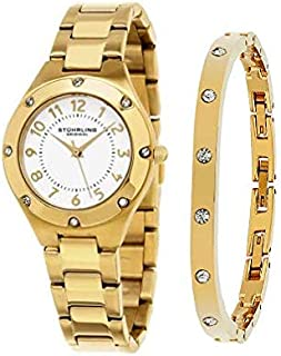 Stuhrling Original Women's White Dial Stainless Steel Band Watch & Bracelet Set - SET_548.04_B3G