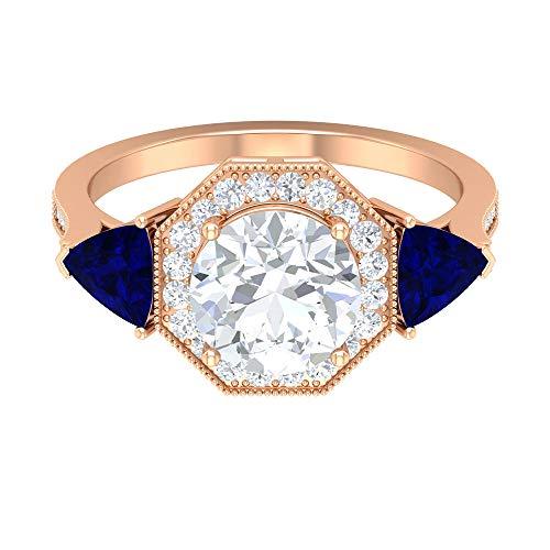 ¿Joyas Rosec? Anillo de compromiso solitario con 2,3 quilates D-VSSI moissanita, 1,4 CT creado en laboratorio, anillo de zafiro azul (calidad AAAA), 14K Oro rosa, Size:EU 44
