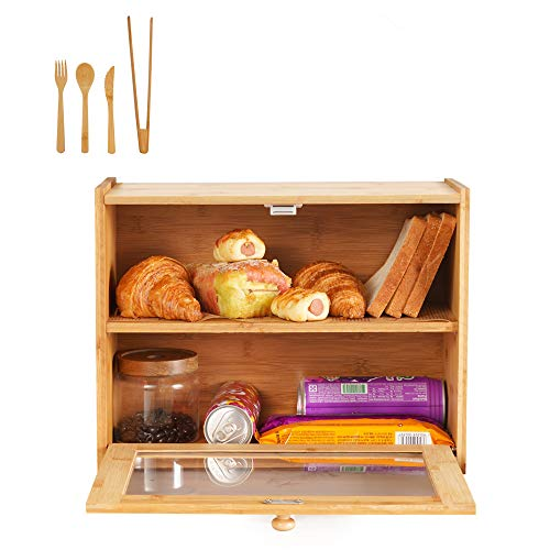 Wooden Bread Box Bamboo 2 Shelf Bread Holder Large Capacity Bread Storage Food Storage Bin with Front Window and Removable Layer for Kitchen Counter Top, Pantry