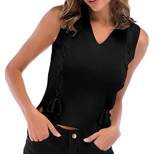 Camiseta sin Mangas con Estampado Floral para Mujer Blusa sin Mangas Delantera con Nudo Camisetas de Punto a Rayas Informal Cami con Cuello en V a Rayas Tanque de Punto Chaleco de Verano Blusa