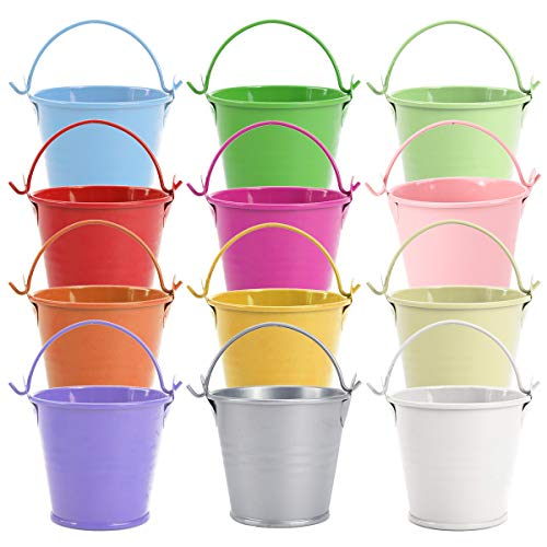 SurePromise 12Pcs Mini Metal Bucket Candy Favours Box Pail Wedding Party Gifts (Colorful)