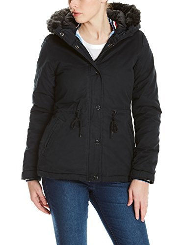 Bench Damen Padded Jacket with FUR Lining Jacke, Schwarz (Black Beauty Bk11179), Large