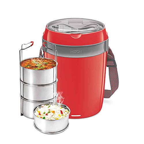 Milton Futron Stainless Steel Electric Lunch Box, (4 Containers), Red