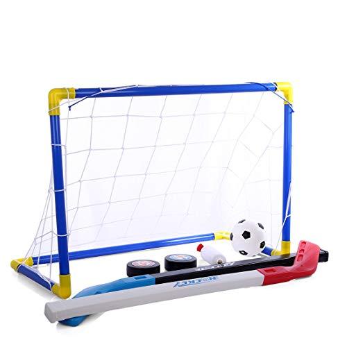 Febelle Portería de fútbol para niños, Juego de Discos de Hockey sobre Hielo Net Goal 2-en-1 para niños para Patio Interior al Aire Libre para niños