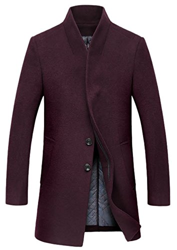 chouyatou Mens Stand Collar Slim Fit Wool Blend Long Business Coat (Large, Thick-Red)