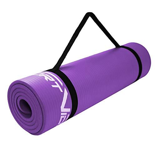 SportVida Yogamatte Fitnessmatte für Yoga Pilates Gymnastik | Schaumstoff NBR | 180 x 60 x 1 cm | Isomatte für Camping Zelt (Lila)