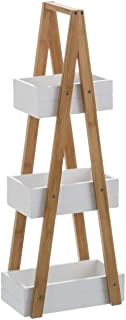 Estantería Blanca de bambú con 3 cestas nórdica para