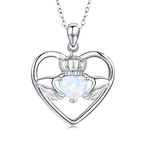 Kette Herz Damen Halskette 925 Sterling Silber Claddagh Liebe Herz mit Opal Anhänger Halskette Geschenk für Frauen Mädchen