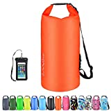 OMGear Waterproof Dry Bag Backpack Waterproof Phone Pouch 40L/30L/20L/10L/5L Floating Dry Sack for Kayaking Boating Sailing Canoeing Rafting Hiking Camping Outdoors Activities (Orange2, 10L)