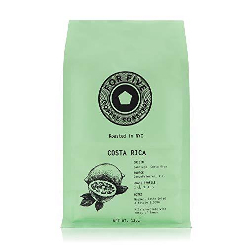 For Five Coffee Roasters - Roasted In NYC - Costa Rica Monte Crisol Light Roast (Origin:Sanriago, Costa Rica), Whole Bean 12 oz