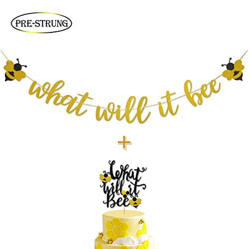 What Will It Bee Gold Glitter Banner for Bumble Bee Gender Reveal Party Baby Shower Decoration