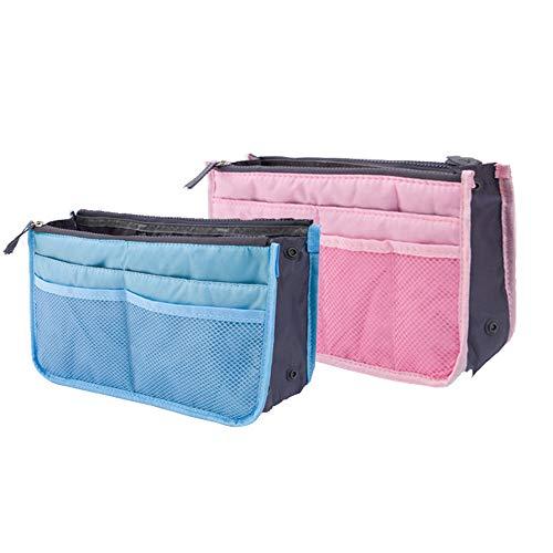 CAILI 2 pack Handtaschen-Organiser Geldbeutel-Einsatz Multifunktional Kosmetikorganizer,Reisetasche, Doppelter Reißverschluss in Der Tasche (himmelblau + pink)