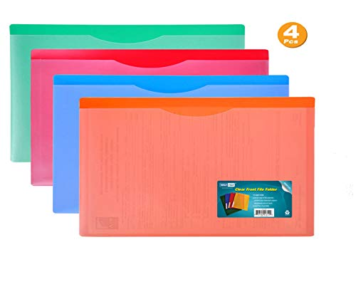 Nova Filer Waterproof Poly-File Folders with Top Tab, Assorted Colors, 4pcs Pack, Legal Size