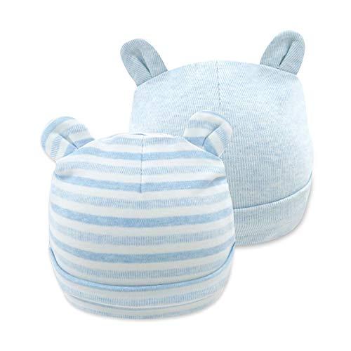 mini eggs Baby Mütze Neugeborene 2 Pack Baumwolle Hüte Warme Beanie Kappe für Baby Unisex Mädchen Jungen 0-6 Monate