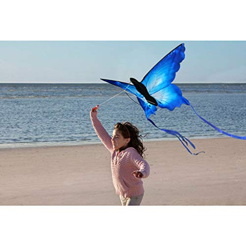 Mcbbigxw Leichtwind Schmetterling Drachen - Butterfly Blue - Einleiner Flugdrachen Für Kinder Ab 3 Jahren - 133x70cm - Inkl. 30mDrachenschnur