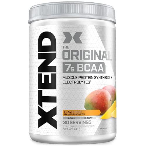 Poudre XTEND Original aux BCAA - mangue   complément alimentaire aux acides aminés ramifiés   7 g de BCAA + électrolytes pour récupération et hydratation   30 portions