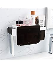 YOHOM Adhesive Toothbrush Holder Wall Mounted 3-in-1 Bathroom Toothpaste Caddy Organizer Shower Shelf Storage Box with Dustproof Cover Design Black
