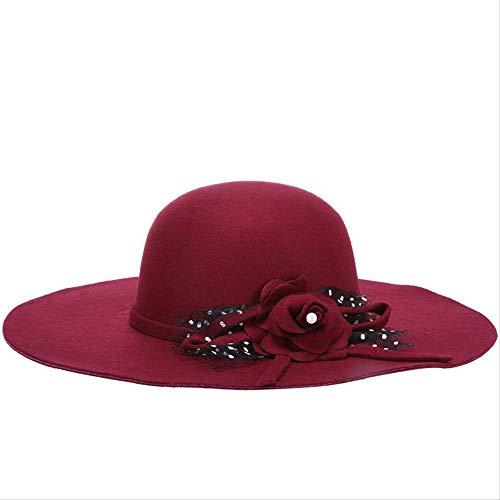 LGYJAL Frühling Große Wolle Damenhüte Mode Damenhüte Zylinder Neue Sonnenhüte rot