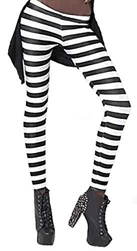 Sister Amy Women's High Waist Geometric Printed Ankle Elastic Tights Leggings Black/White Stripes US 0-12