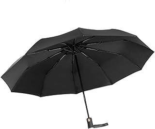 Umbrella Windproof Umbrella Folding Fully Automatic Double Layer Windproof Dual Purpose Black Blue Yellow (Color : Black)