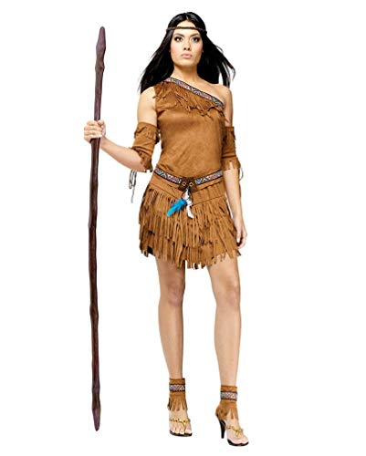 Horror-Shop Sexy Indianerin Kostüm mit Fransen M/L 42-44