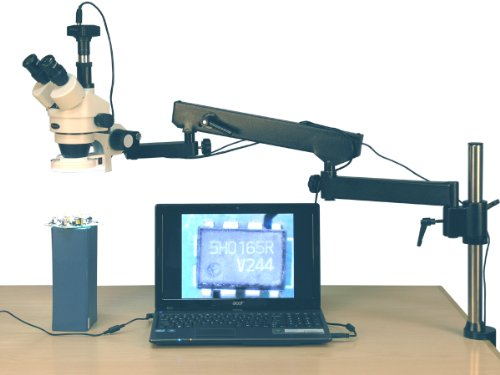AmScope SM-8TZ-144S-10M Digital Professional Trinocular Stereo Zoom Microscope, WH10x Eyepieces, 3.5X-90X Magnification, 0.7X-4.5X Zoom Objective, 144-Bulb LED Ring Light, Articulating-Arm Boom Stand, 110V-240V, Includes 0.5x and 2.0x Barlow Lenses and 10MP Camera with Reduction Lens and Software