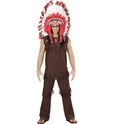 Amakando Traje Hombre Cacique - L (ES 52) | Disfraz Indio | Fiesta Temtica Oeste Salvaje | Disfraz Jefe de Tribu